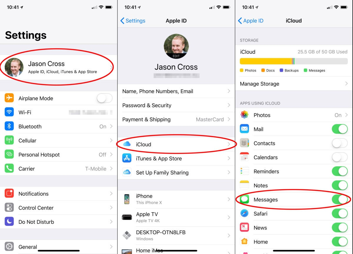 messages icloud how to