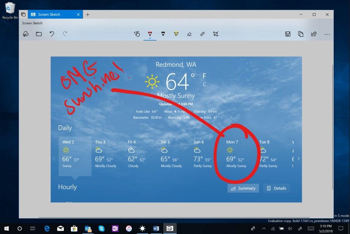 Microsoft Windows 10 Redstone 5 screen sketch app
