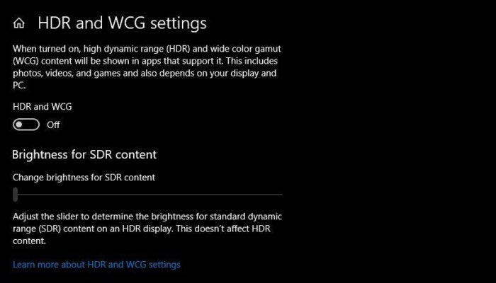 win10 april 2018 hdr slider