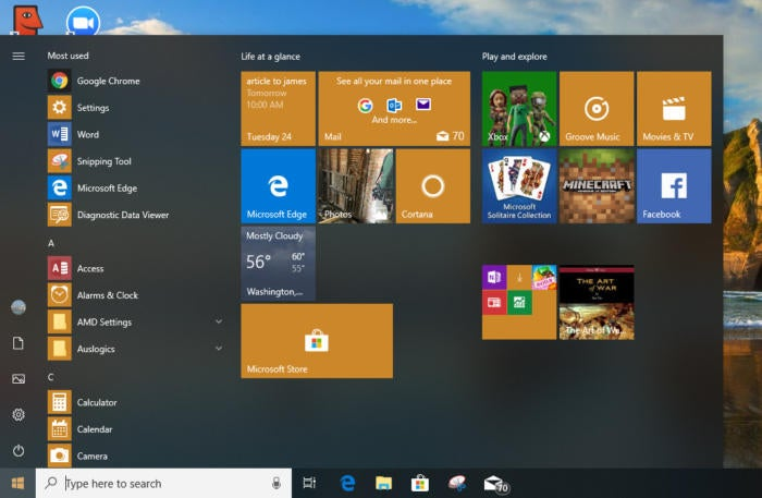 Windows 10 Start menu April 2018 Update