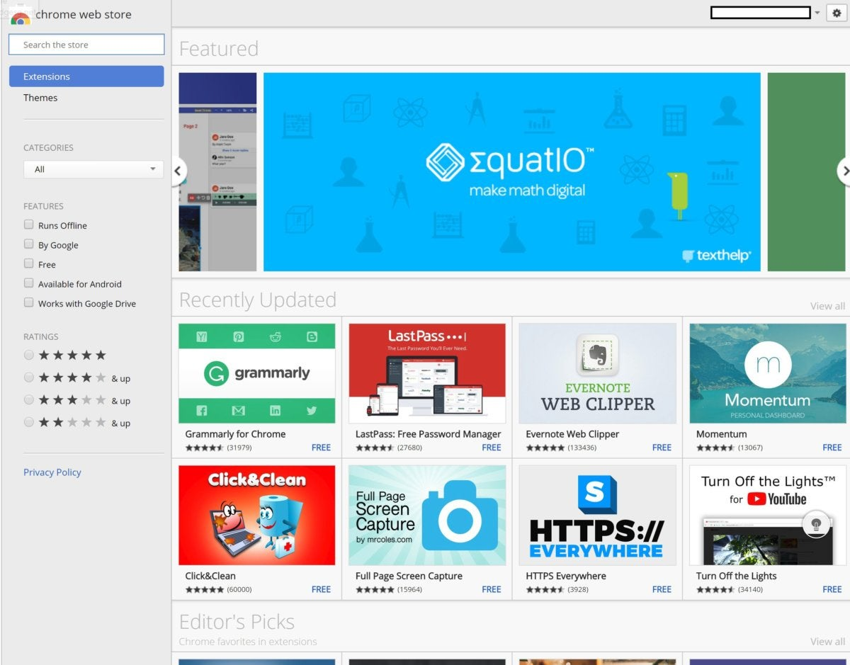 chrome web store chromebook