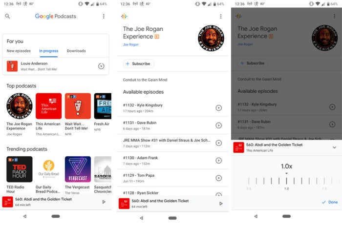 google podcasts app screens