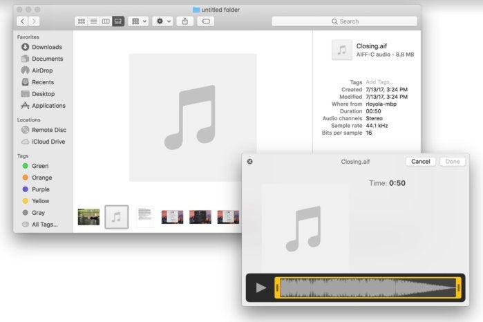 macos mojave photo quick action tools audio trim