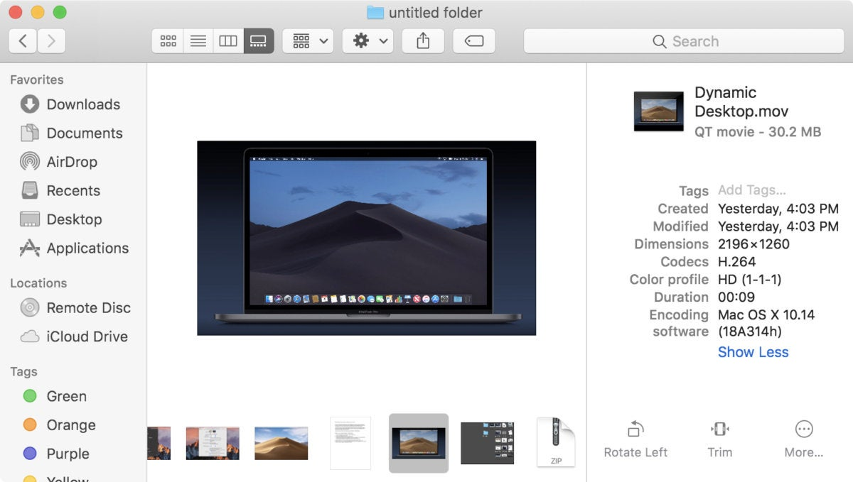macos mojave photo quick action tools video