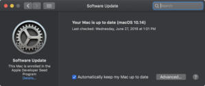 macos mojave software update uptodate