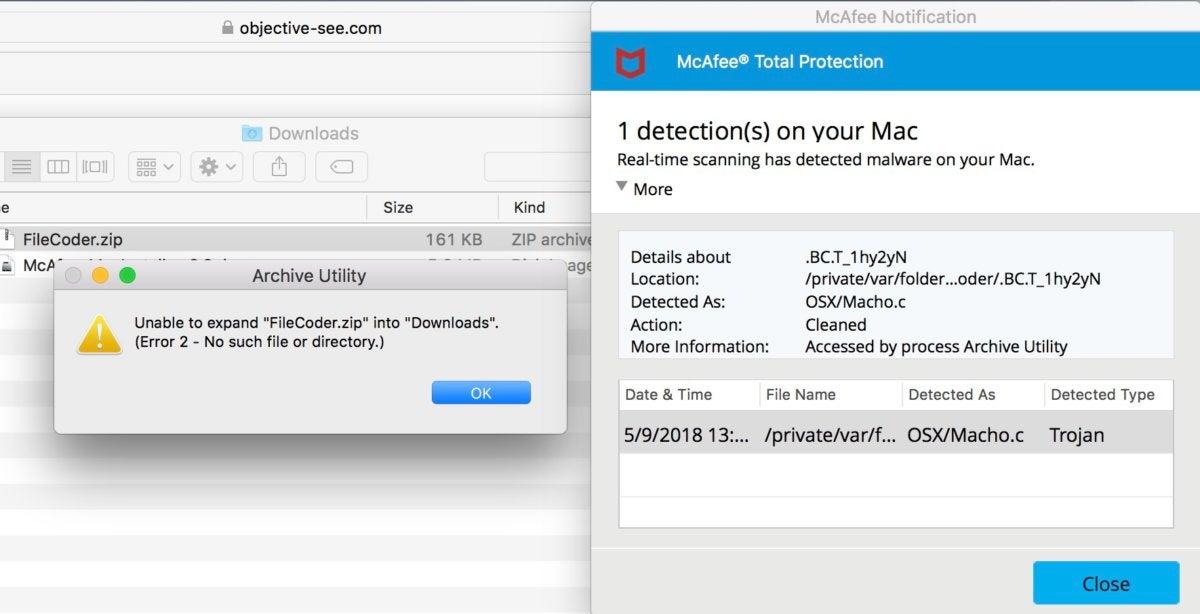 mcafeetp virus blocked