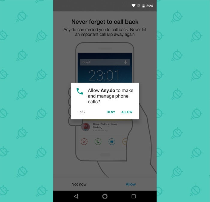 Missed Call Reminders Android - AnyDo Permissions