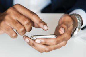 mobile phone touchscreen in hands