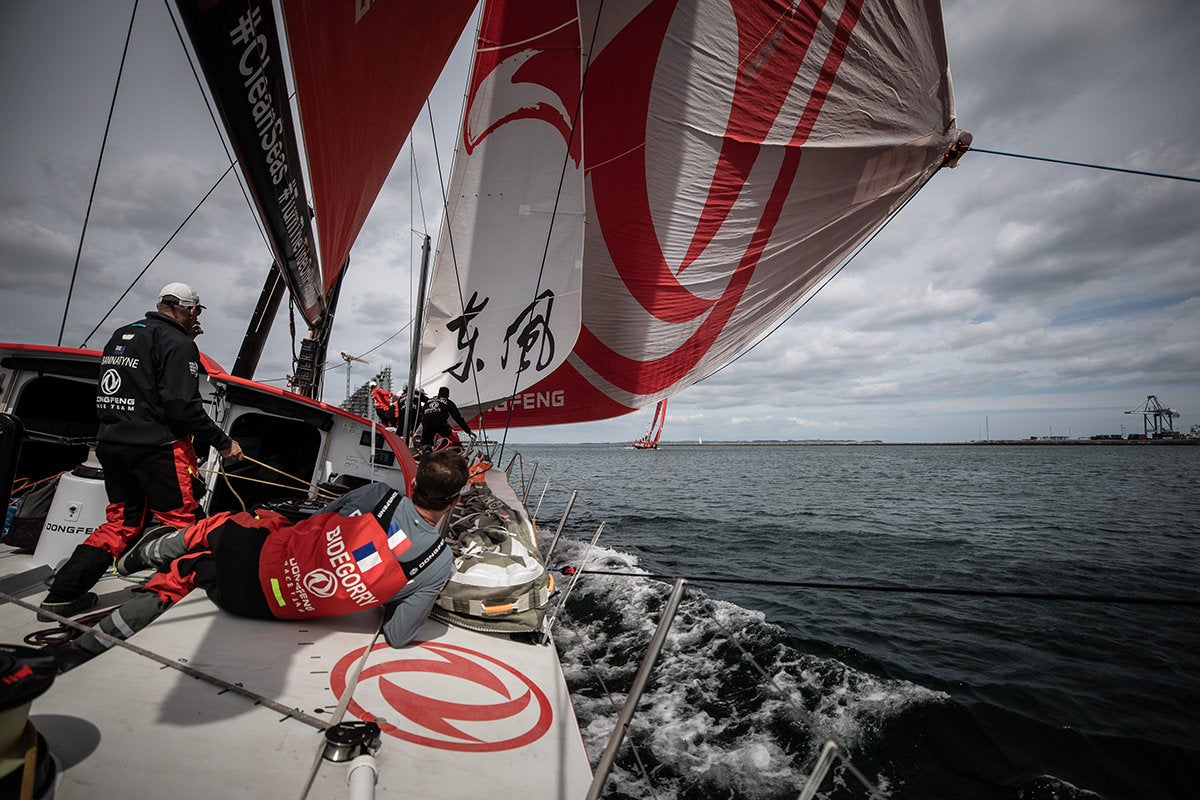 volvo ocean race on the donfeng approaching finish line in the hague