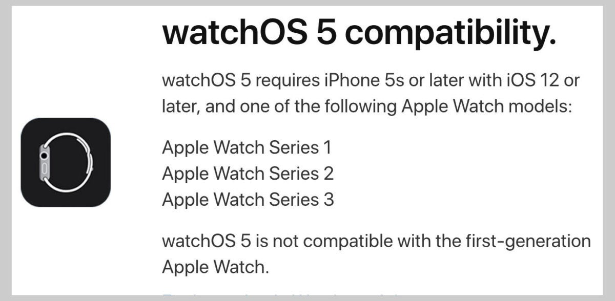 watchos5 supported devices bordered