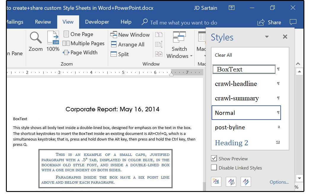 how to create and share custom style sheets in word and