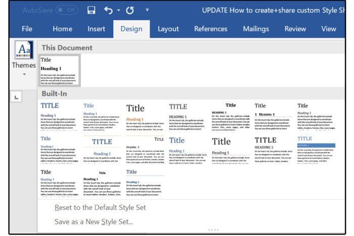 08 design menu tab shows newexisting style sheets