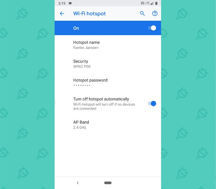 Android P Elements - Wi-Fi Hotspot