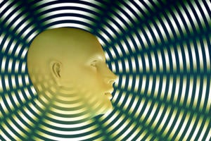 head / face / radiating lines / radial waves / artificial intelligence / projection / connection