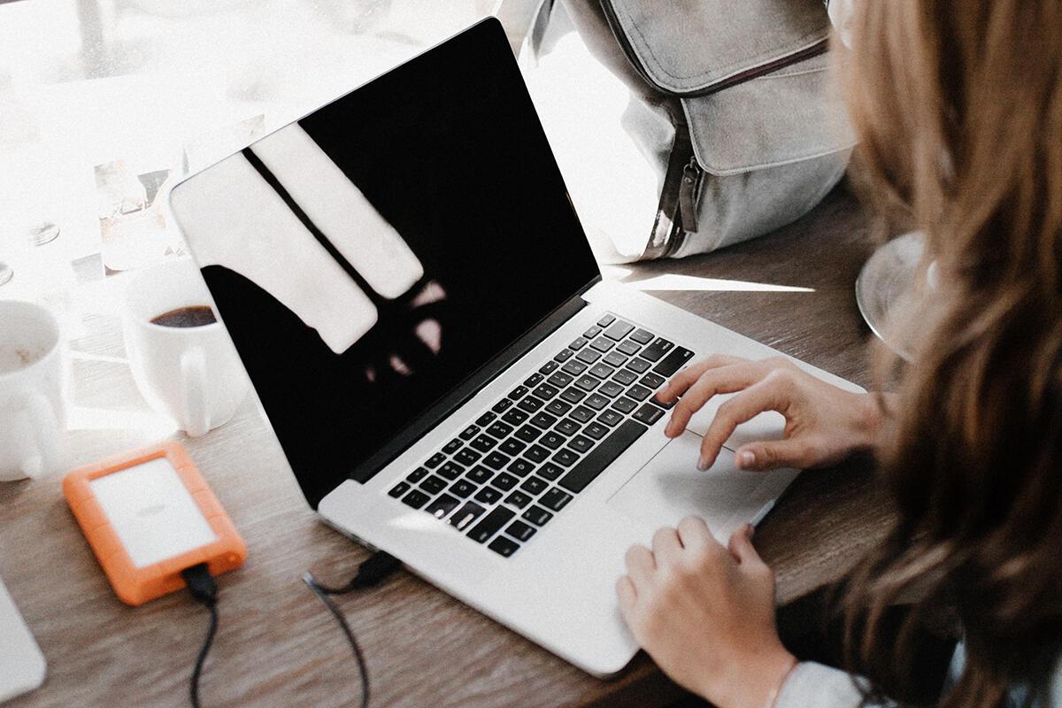 laptop / hard drive / workspace