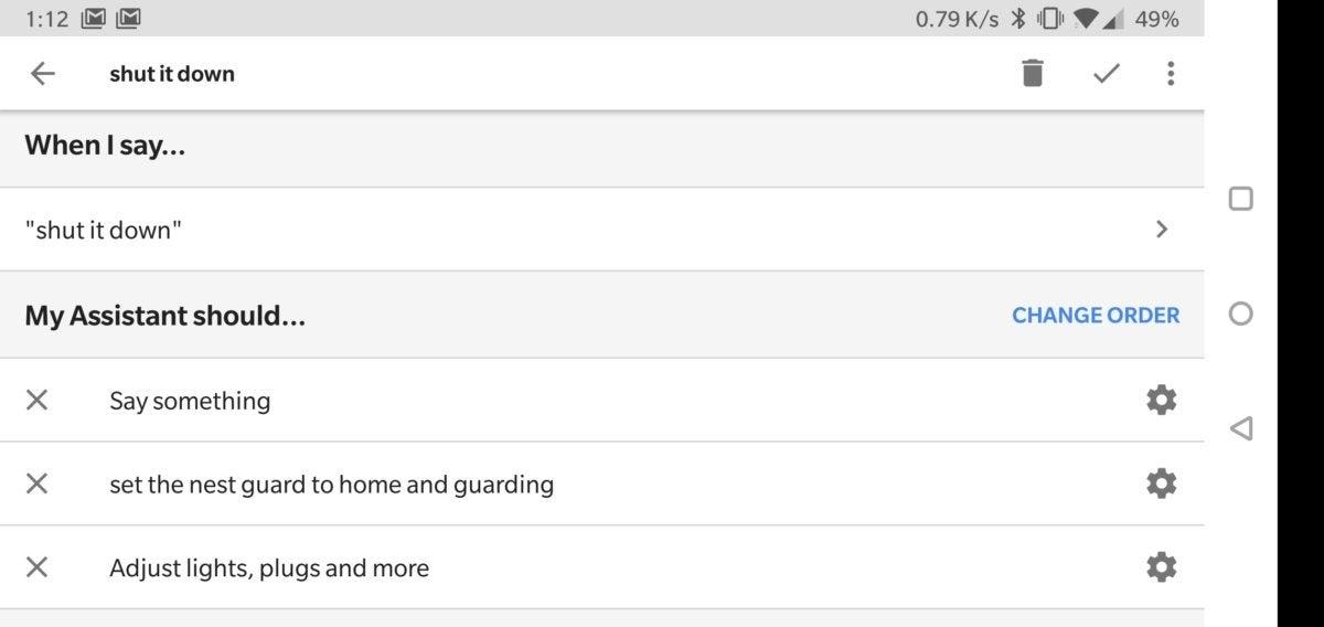 Google Assistant custom routines
