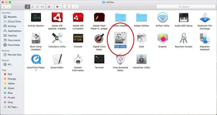 disk utility icon red circle