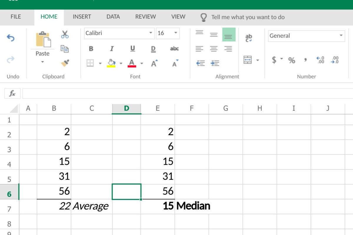 excel average vs median