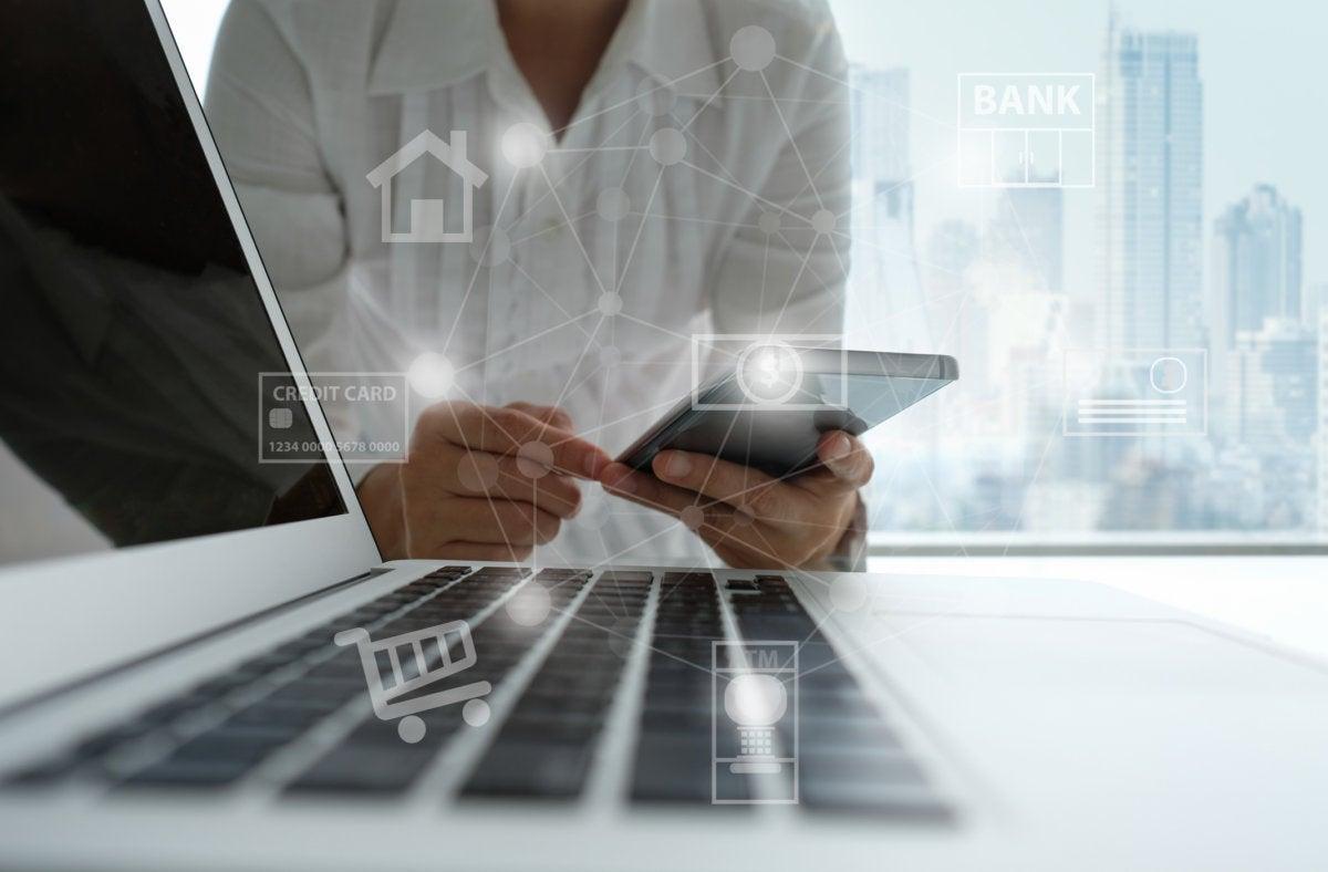 iot smartphone laptop bank financial