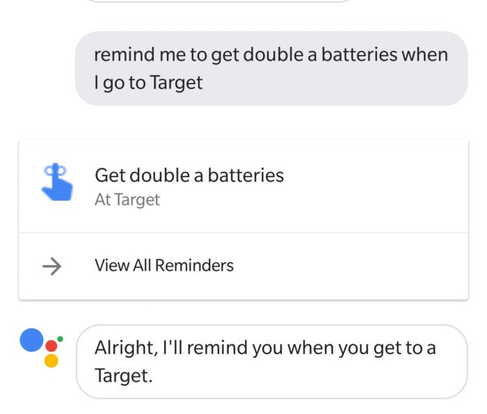 Google Assistant location reminders