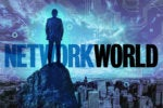 man on cliff network world logo edge computing circuitry city