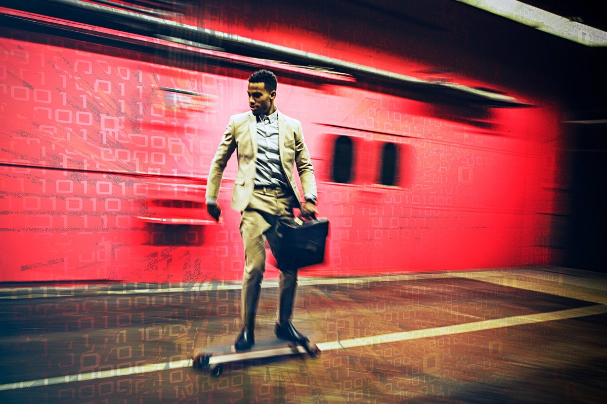 man skating on longboard binary speed responsive agile executive with briefcasse