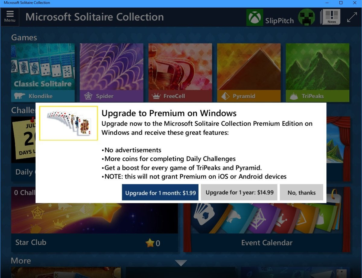 microsoft solitaire subscription