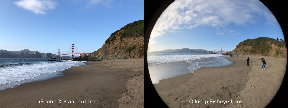 Olloclip fisheye comparison Golden Gate Bridge