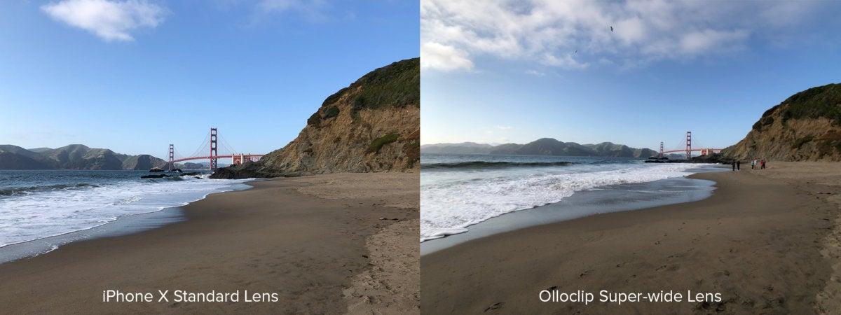 Olloclip wide comparison Golden Gate Bridge
