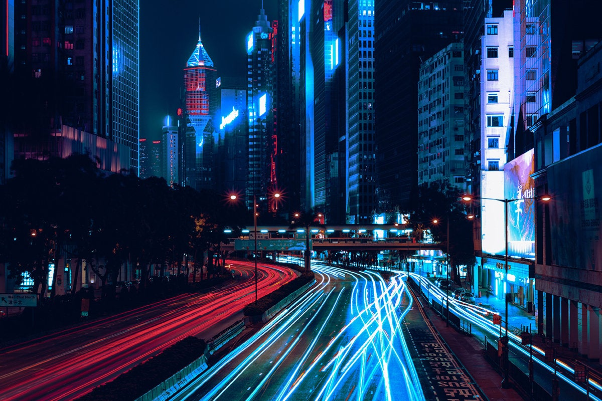 city / traffic / street / light trails / speed / progress / Wan Chai, Hong Kong