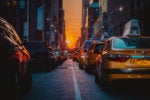Sunset aligns with traffic-filled streets of Manhattan.  //  NYC  //  New York City