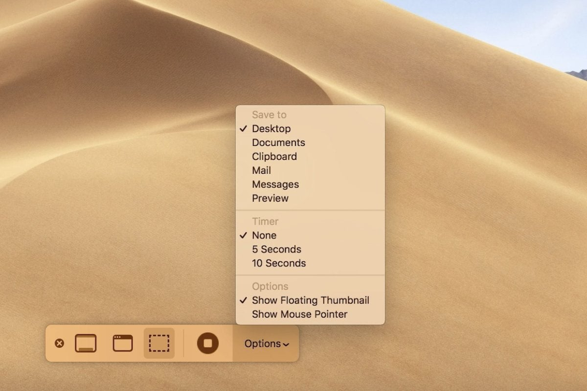 Screenshots in MacOS Mojave