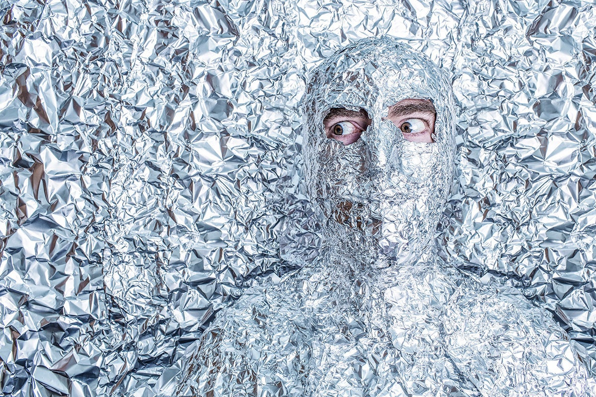 tinfoil man /crazy conspiracy theories / camouflage