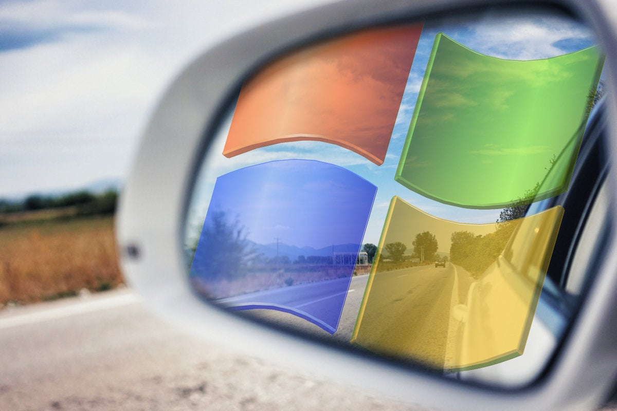 windows 7 logo in the rear view mirror