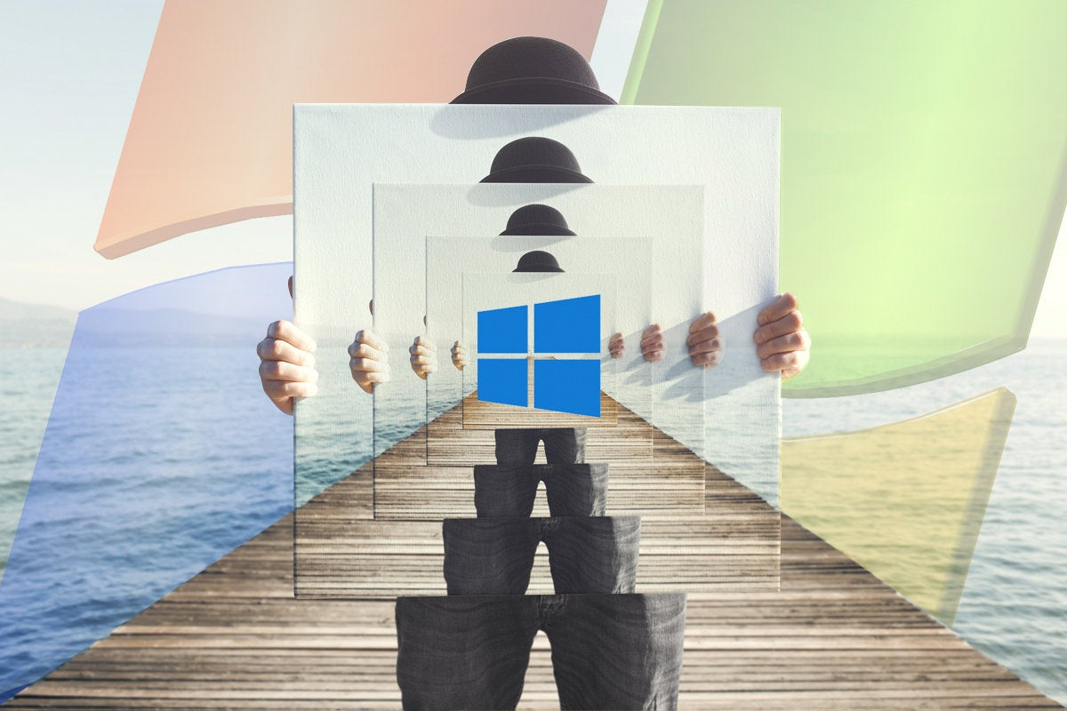 windows logos man with derby hat holding mirrors canvas dock ocean