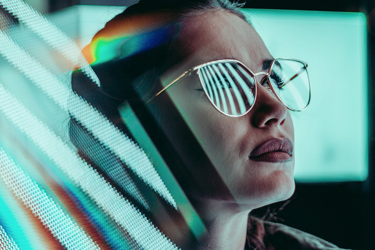 women in it programmer devops reflection monitor glasses by angelos michalopoulos unsplash