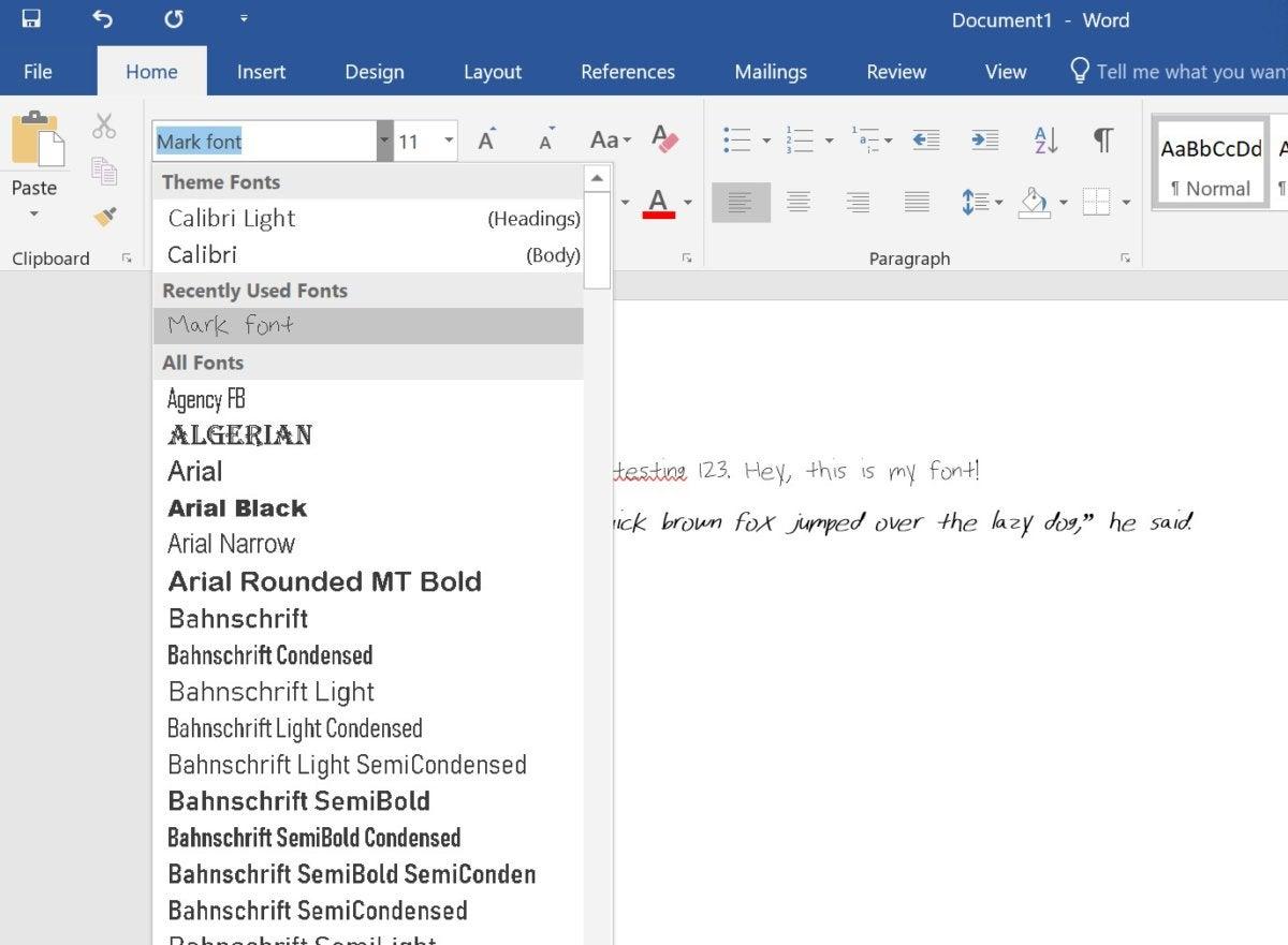 Microsoft Font Maker word font list