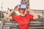 young woman with virtual reality headset glasses augmented reality by tim savage