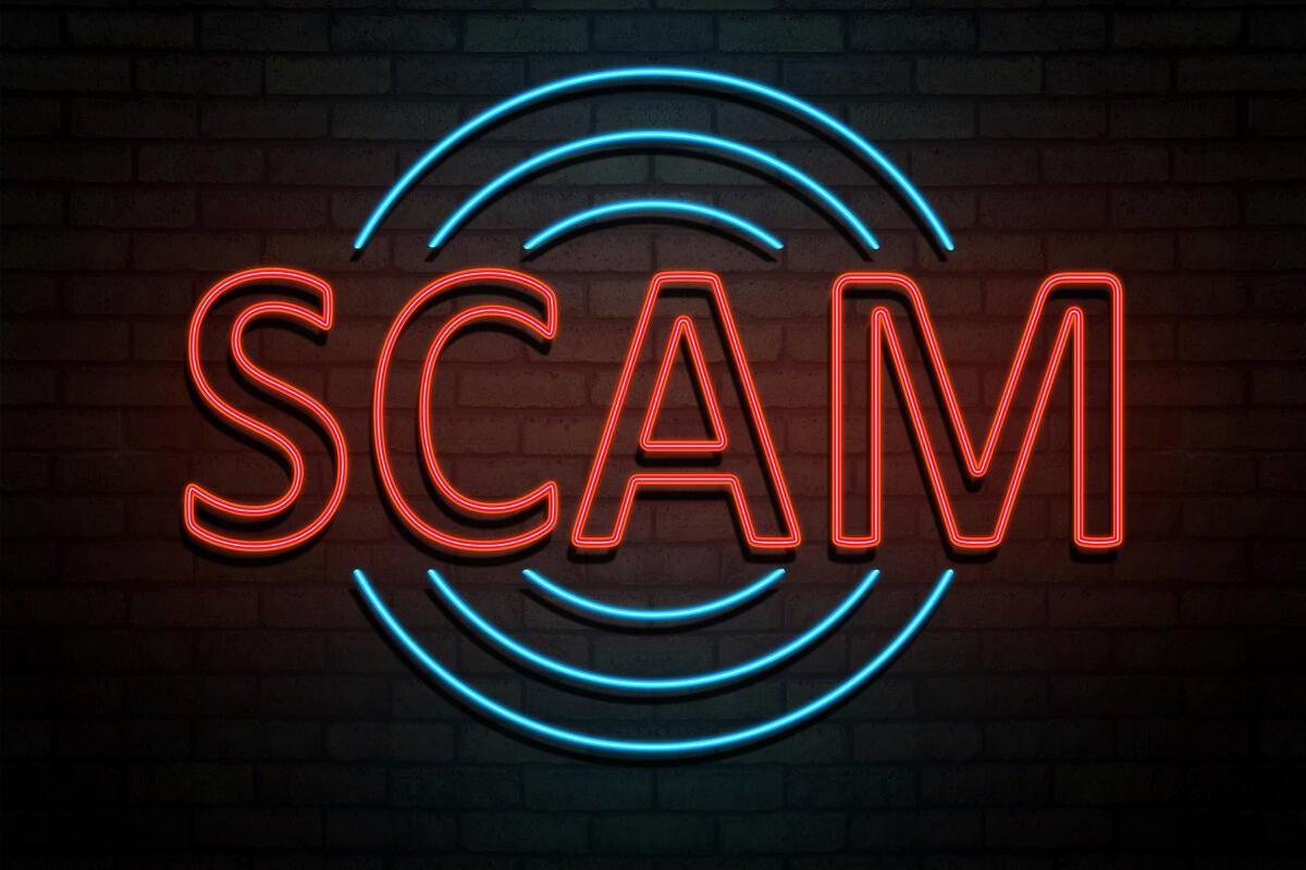 4 social engineering awareness scam neon sign