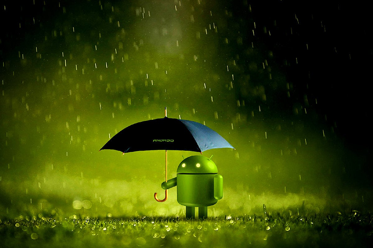 An Android mascot carrying an umbrella in the rain. / firewall / security / coverage / service