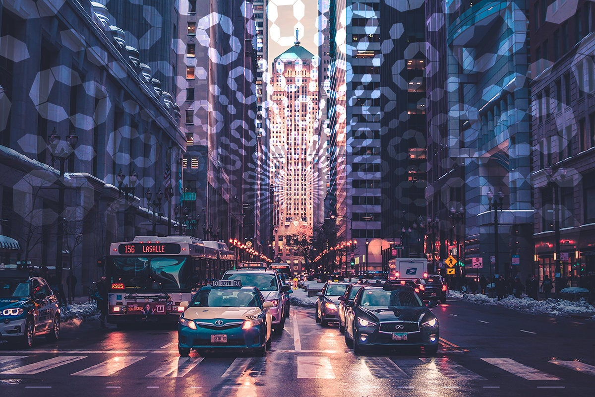 traffic on a city street at sunset surrounded by binary code / smart cars / smart city