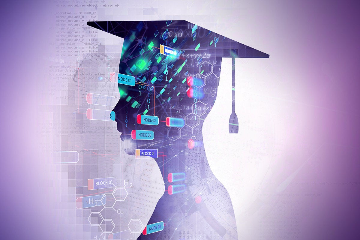 Certification / Graduate silhouette surrounded by abstract technology and blockchain imagery.