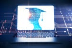 Abstract composite - graduate / networking and computing imagery / laptop / keyboard / circuits