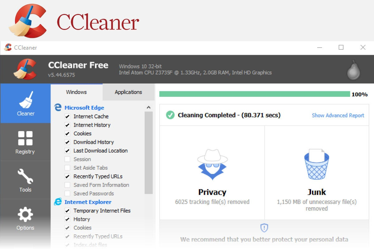 Computerworld > Windows 10 Utilities > Slide #02 > CCleaner