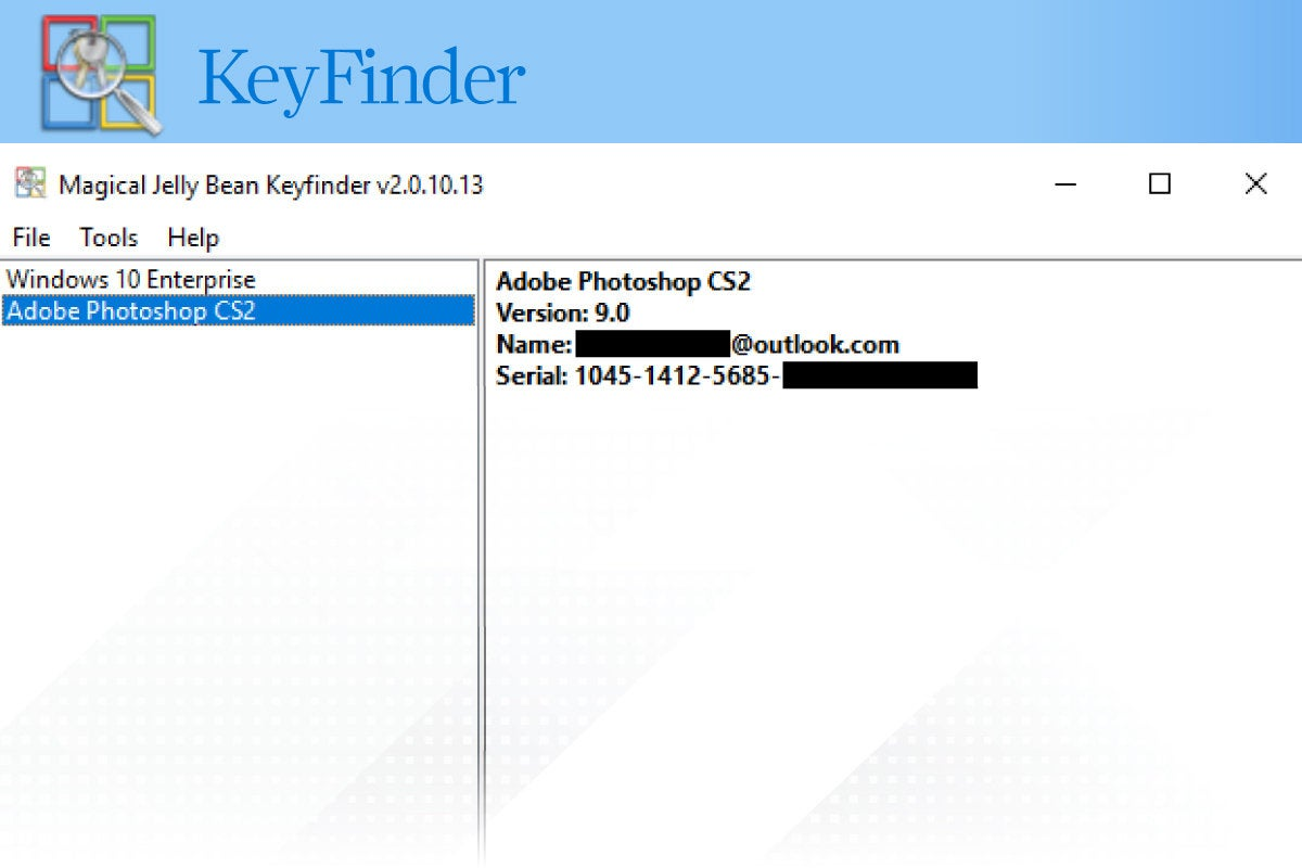 Computerworld > Windows 10 Utilities > Slide #04 > KeyFinder