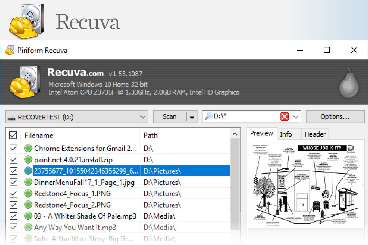 Computerworld > Windows 10 Utilities > Slide #07 > Recuva