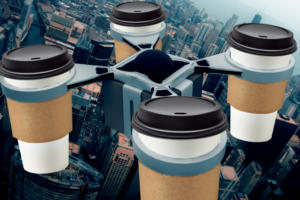 drone with coffee cups iot biometrics