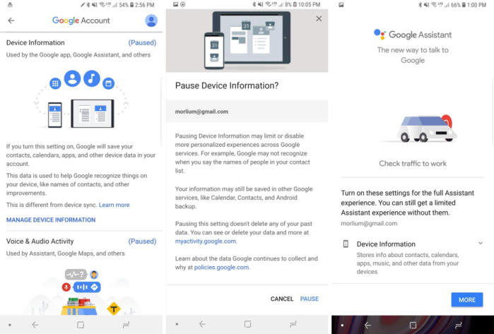 google privacy checkup device info