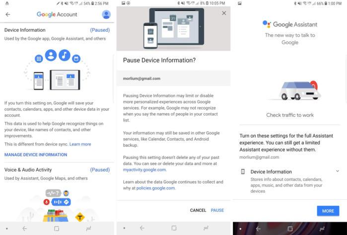 google privacy checkup device info