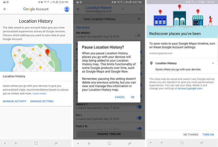 google privacy checkup location history